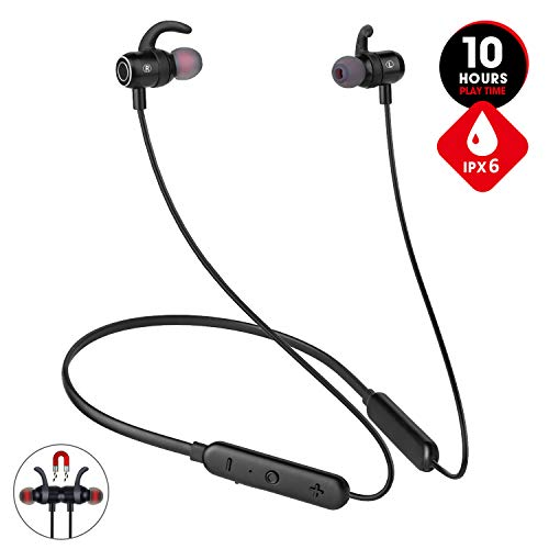 [Newest 2020] Bluetooth Headphones,Premium 10Hrs Playtime Neckband Wireless 5.0 Earbuds Sport Magnetic Earphones w/Mic,Waterproof IPX6,Deep Bass Earbuds for Workout Running Gym,Noise Cancelling
