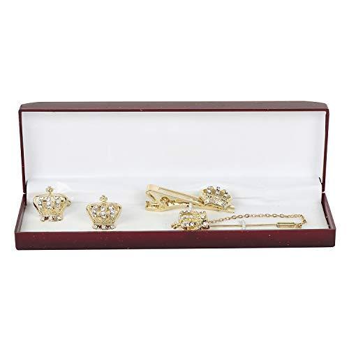 Presenta SataanReaper Rodhium Plateado Estadounidense Tachonado Diamante Corona Mancuernas, Tie Clavija Y Broche De Los Hombres De #SR-021