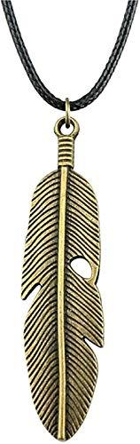 LBBYMX Co.,ltd Collar de Moda 59X16Mm Colgante de Plumas de Color Bronce Antiguo Collar de Cuero Chai para n