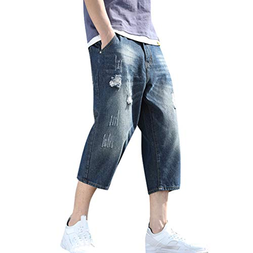 Review Of Leadmall Men's Capri Denim Pants | Men Plus Size Wide Fit Fashion Ripped Destroyed Jeans S...