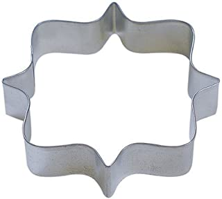 R & M Square Plaque Tinplated Frame Cookie Cutter 4.25-Inch, Silver
