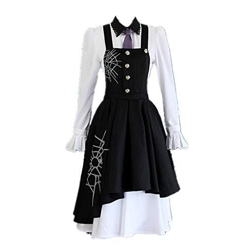 6PCS / Set Outfit Cosplay Kostüm Halloween Karneval Danganronpa V3 Tojo Kirumi Täglich Casual Gothic Maid Kleid Anzüge Hochwertige optionale Perücke