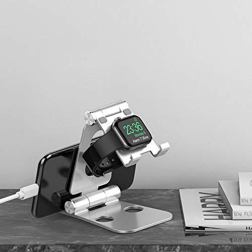 卓上タブレットスタンドApplewatch充電スタンド【3in1多機種対応】携帯スタンドタブレットPCホルダーiPadスタンドアルミ合金製角度調整可能折り畳み式シリコン滑り止め収納袋付き携帯便利iPhone/iPad/android/PC/AppleWatch/Kindleなど(4-13インチ)に対応1年保証