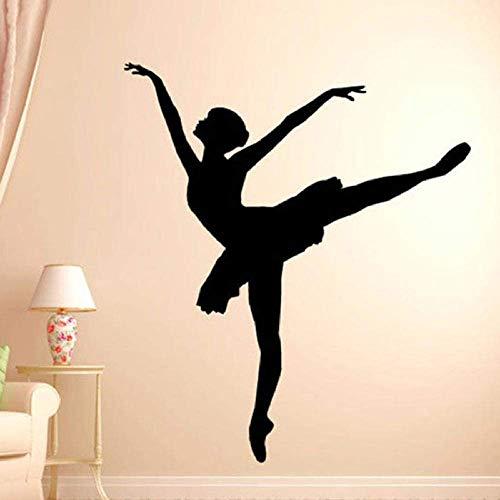 Ballerina Tänzer Ballett Wandtattoo Silhouette Wand Vinyl Aufkleber Home Schlafzimmer Wand Home Studio Dekor Yoga Studio Dekor 65X57Cm