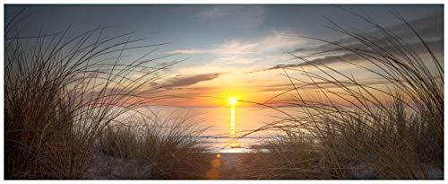 Wallario Acrylglasbild XXL Sonnenuntergang am Strand - 80 x 200 cm in Premium-Qualität: Brillante Farben, freischwebende Optik