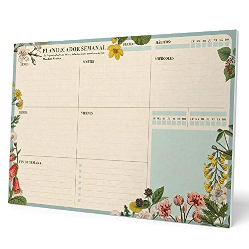 Kokonote Bloc planificador semanal A4 Botanical - Organizador semanal - Planificador semanal - Planning escritorio, Planificador floral, BPSA40030
