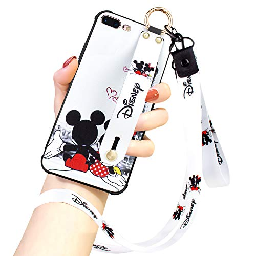 DISNEY COLLECTION iPhone 7 Plus/8 Plus Case, Disney Mickey Couple Street Fashion Wrist Strap Band Phone Cover Bumper Lanyard Case for for iPhone 7 Plus/iPhone 8 Plus 5.5 Inch