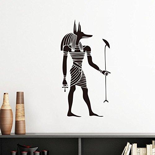 Alten Ägypten Kultur Schwarz Weiß Anubis Totem Fresco Illustration Muster Silhouette abnehmbarer Wandtattoo Kunst Aufkleber Wandbild DIY Tapete für Raum Aufkleber 60cm schwarz