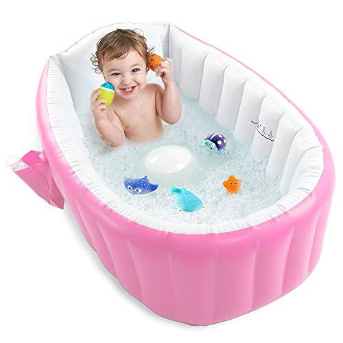 Inflatable Baby Bathtub, Portable Toddler Bathtub Baby Bath Tub Non Slip Travel Bathtub Mini Air Swimming Pool Kids Thick Foldable Shower Basin, Pink
