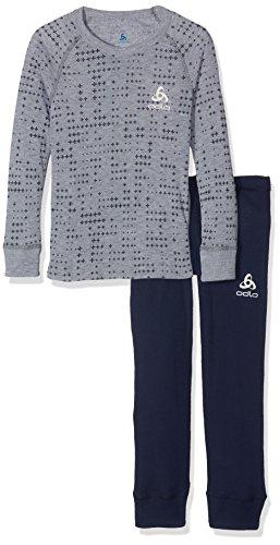 Odlo Kinder Set WARM Kids Shirt l/s Pants Long Skiunterwäsche, Peacoat - Grey Melange, 116