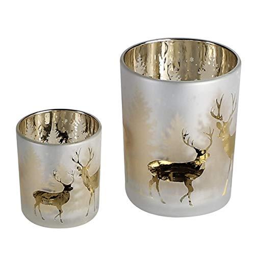 Casablanca - Windlicht - Deer Forest - Hirsch - Glas - champagnerfarben - Höhe 8 cm