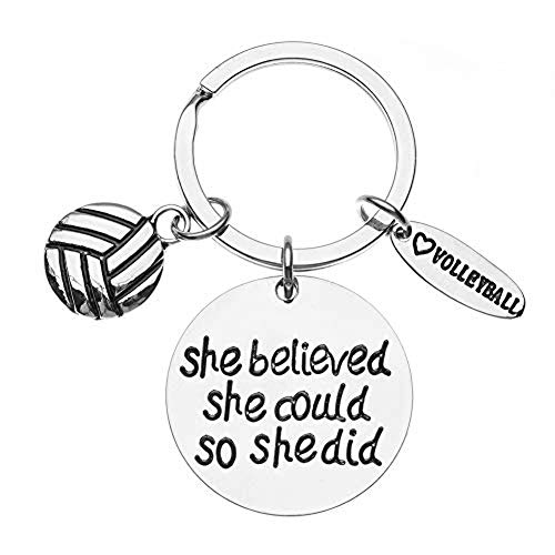 Volleyball She Believed She Could So She Did Keychain, Girls Volleyball Jewelry, Volleyball Gifts for Volleyball Players
