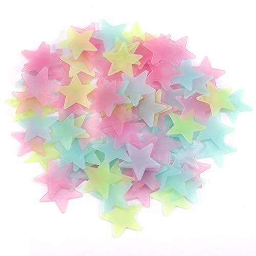 PULABO - 100 pegatinas de estrellas que brillan en la oscuridad de plástico pegatinas luminosas de pared para decoración de pared para niños, cuarto de niños y dormitorio, colores mezclados