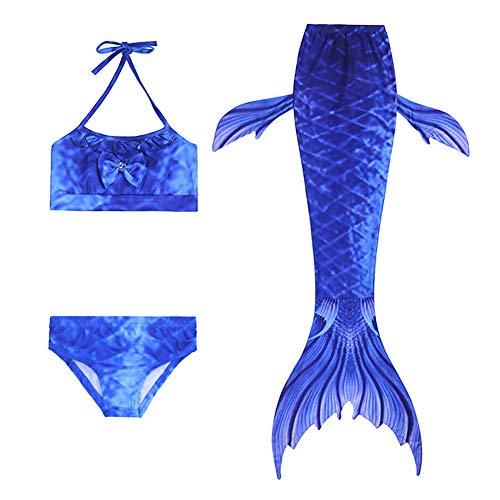 Lanqinglv Mädchen Meerjungfrau Schwanz Badeanzug Prinzessin Cosplay Kostüm 3 Pcs Bikini Set Blau Kinder Badeanzüge Schwanzflosse Bademode für das Schwimmen (11,140cm)