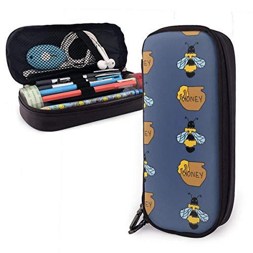 Biene und Honig blau Leder Federmäppchen Tasche mit Reißverschluss Stift Box Schulmaterial für Studenten, große Kapazität Briefpapier Box Reise Make-up Tasche für Mädchen, Jungen und Erwachsene
