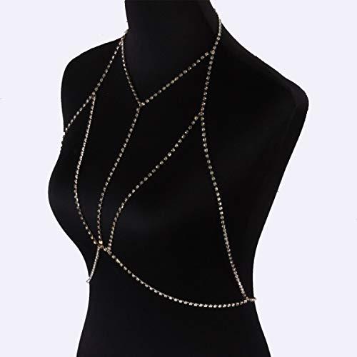 SMXGF Vrouwen Bra Chain Bikini Body Harness Bohemian Crystal Waist Belt Belly Body Jewelry Chains Sexy Borst Chain Choker Ketting