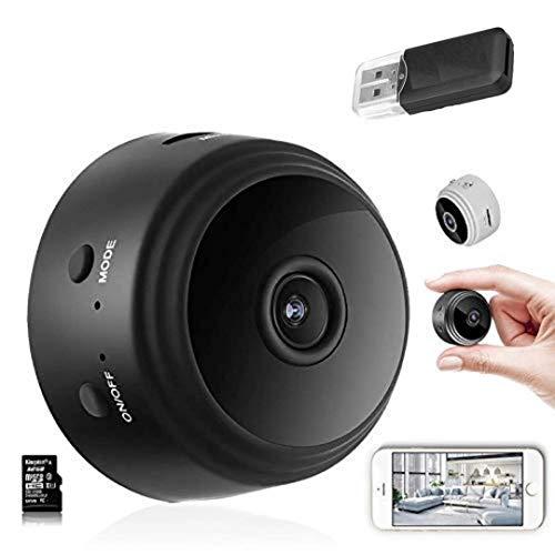 JIC 1080P HD 4K Cámaras espía Oculta, Cámaras Espía WiFi bebé , IR Visión Nocturna Detector de Movimiento, Grabadora de Video, Camaras de Seguridad Pequeña para Interior/Exterior (Negro)