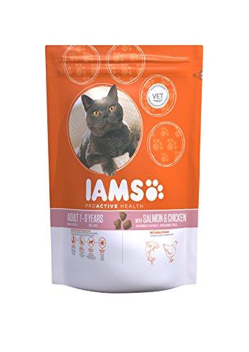Iams Adult Trockenfutter mit viel Lachs (für erwachsene Katzen, enthält viel hochwertiges tierisches Protein), 1,5 kg Beutel