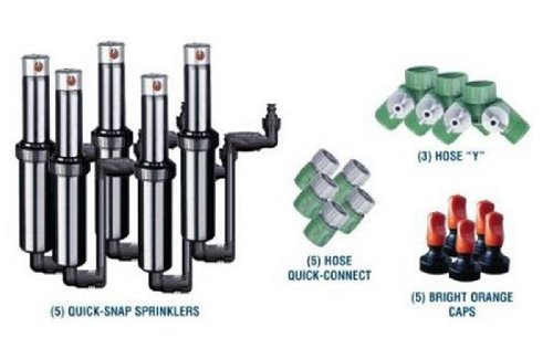 Quick-Snap QSK-74 In-Ground 5-Inch Pop-Up Adjustable Sprinkler 5-Pack With Quick Hose Connectors And Splitters