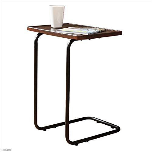 Axdwfd Table d'appoint en bois massif Bureau + Cadre en métal Cheveux Salon Table de lecture Table de collation à la mode 46.5 * 42 * 55.5cm (Marron)