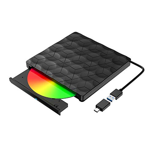 Externes CD DVD Laufwerk, USB 3.0 Slim DVD/CD Brenner mit Type-C, Tragbare DVD/CD Lesegerät PC Player niedriger Lärm/Slim Superdrive für Laptop, Desktop Mac Windows 10/8/7 Linux Vista MacOS Plug& Play