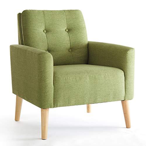 Meerveil Sessel Armlehnensessel Massivholzbeine Modern Einfach für Schlafzimmer Wohnzimmer Balkon Büro, Grün