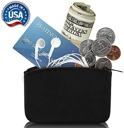 Genuine Leather U.S.A Made Zipper Coin Purse Coin pouch Change Holder For Men /& Woman By Nabob Leather