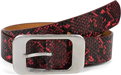 styleBREAKER cinturón de mujer en óptica de piel de serpiente con una gra...