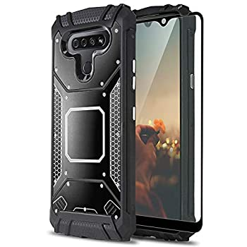 TJS Phone Case Compatible with LG Stylo 6 with [Full Coverage Tempered Glass Screen Protector] Aluminum Shockproof Military Magnetic Support Built-in Metal Plate Back Armor Protector Cover  Black