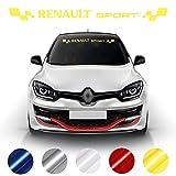 Tira de Visera para Renault Sport Pegatina   de Clio Mégane Twingo   Pegatinas Anti-Burbujas (Amarillo Brillante)