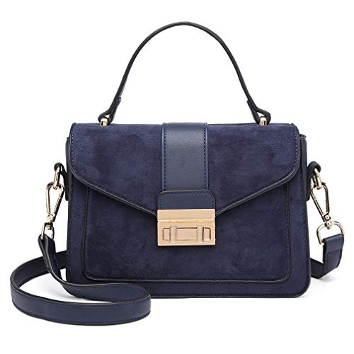 Miss Lulu Women Top Handle Bag Suede Handbags Pu Leather Shoulder Bag Elegant Modern For Work Shopping Travel (Navy)
