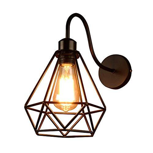 Wankd Diamond Bird Cage Nordic wandlamp antieke wandlamp vintage metaal wandlamp retro glas wandlamp voor binnen op zolder, terras, restaurant, café, woonkamer en studie
