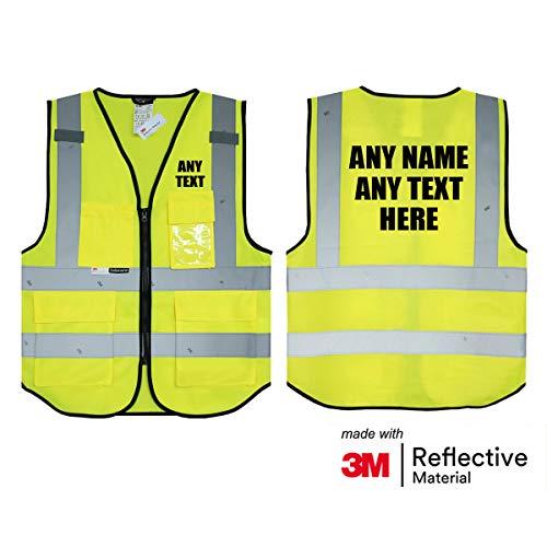 Personalisierte Salzmann 3M Warnweste mit Text oder mehrfarbigem Logo und Mehreren Taschen, hergestellt mit 3M Reflektierendem Material - Gelb hochsichtbar Sicherheitsweste Arbeitsweste