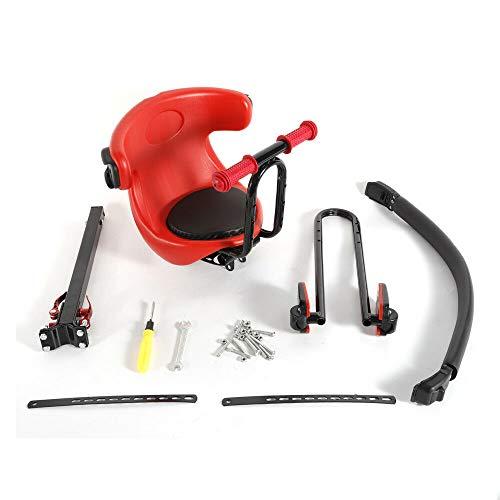 Berkalash Asiento infantil para bicicleta de montaña, color rojo, con pedal y mango, asiento de seguridad para bicicleta de montaña, rodamiento de 30 kg