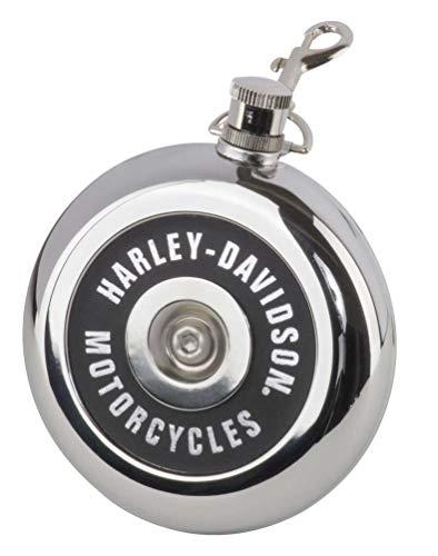 Harley-Davidson Luftreiniger-Fläschchen, rund, 237 ml, silberfarbener Edelstahl