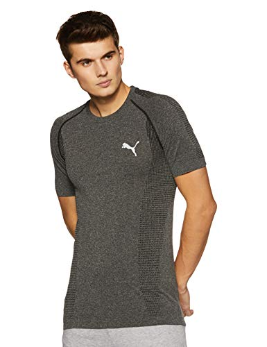 Puma Herren Evoknit Basic Tee T-Shirt, Black Heather, L