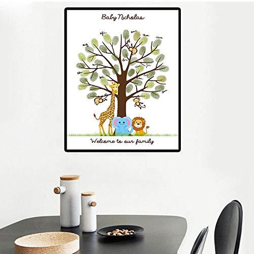 Libro de visitas Baby Shower Jirafa Elefante Huella digital Árbol Pintura Comunión Niños Cumpleaños DIY Baby shower Lienzo Pintura Recuerdo