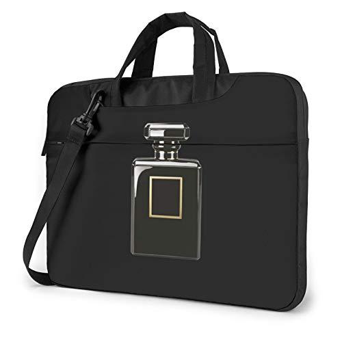 Bolso de hombro para ordenador portátil, diseño de perro en la cama, estampado azul, a prueba de golpes, impermeable, mochila de hombro, Botella de perfume negra (Amarillo) - 259841
