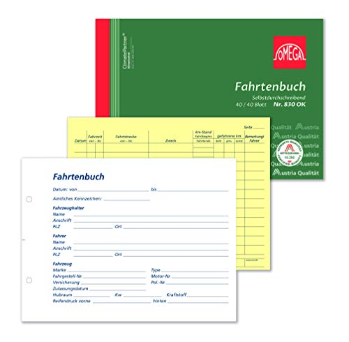 Omega Fahrtenbuch 830 OK, selbstdurchschreibend, A5 quer, 2x40Blatt, weiß/gelb