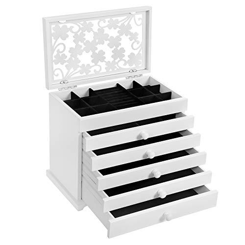 SONGMICS Schmuckkästchen aus Holzwerkstoff, Schmuckschatulle mit 6 Ebenen, Schmuck-Organizer mit 5 herausziehbaren Schubladen, Schmuckbox mit floralen Schnitzereien, Geschenkidee, weiß JBC55W