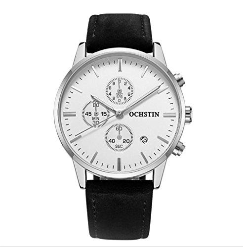 XINLEE Herren Quarzuhr Zeiger zeigt multifunktionale Bewegung wasserdichtem Leder Gürtel Uhr, 002