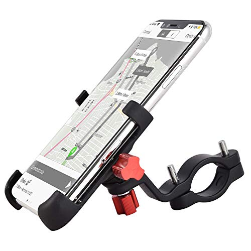 ENONEO Supporto Bici Smartphone 360 Gradi Universale Supporto Telefono Bicicletta Alliage d'aluminium Porta Cellulare Bici per Moto MTB iPhone Samsung Huawei (Larghezza 2.16-3.74') (Nero)