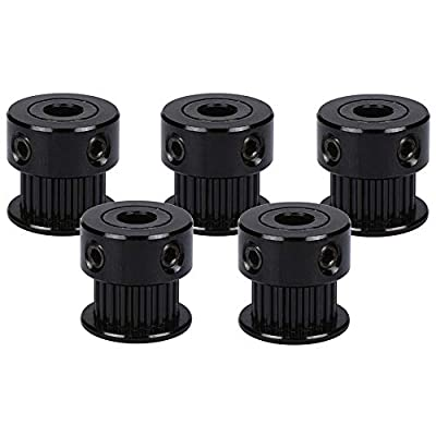 Gt2 20T 5B Timing Belt Pulley - Black Drive Pulleys 20 Teeth 5mm Shaft/Bore 6mm Wide for Reprap Prusa I3, Laser Cutter CNC Machines and 3D Printers (5 Pack)