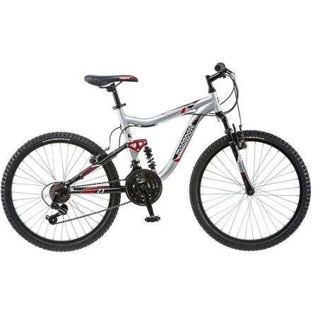 "Mongoose Ledge Bike 24"" Inch for Boys' Mountain Bike Silver, Mountain Style Athletic Seat-alloy Rims, Alloy Linear Pull Brakes"