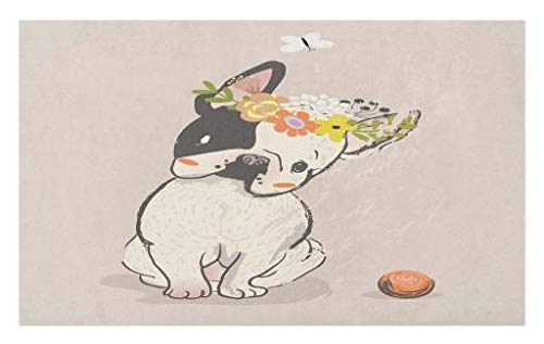 Lunarable Dog Doormat, Hand Drawn French Bulldog with Wreath on Its Head Watercolor Domestic Pet Illustration, Decorative Polyester Floor Mat with Non-Skid Backing, 30' X 18', Pale Rose