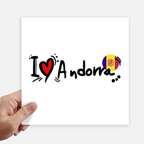 DIYthinker Ik hou van Andorra Word Vlag Liefde Hart Illustratie Vierkant Stickers 20Cm Muur koffer Laptop Motobike Decal 4 Stks
