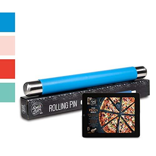 Dolce Mare Rollo de Silicona Rodillo Antiadherente - Rollo de Fondant sin BPA para Pizza y Todos los demás Productos de Pasta (Azul)