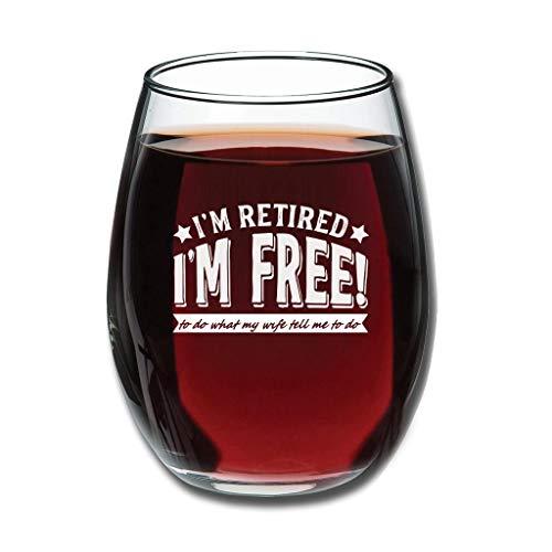 O3XEQ-8 Stemless Retired to Do Wife Tell Me to - Copa de vino tinto grabado premium - Divertido sarcasmo especial mujer blanco 350 ml