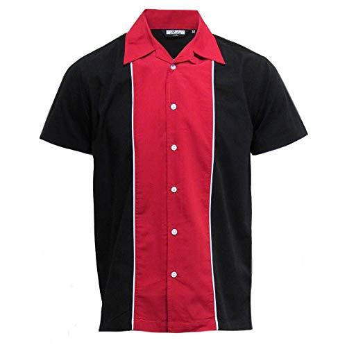 Relco Herren Kurzärmelig Bowling Hemd schwarz/rot NEU Größe M - XXL - Rot, XXX-Large