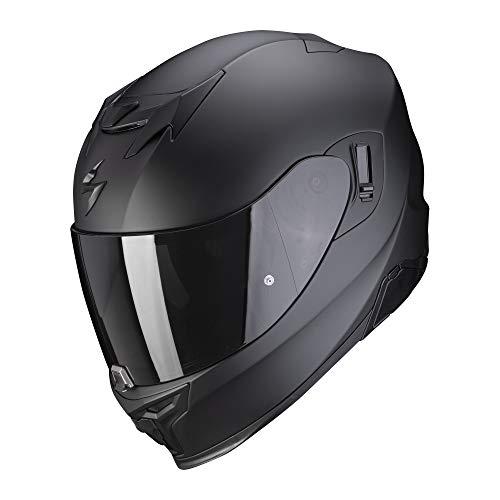 Scorpion EXO-520 - Casco de moto con visera parasol, Pinlock, preparado para comunicación Bluetooth XS, negro mate y plateado